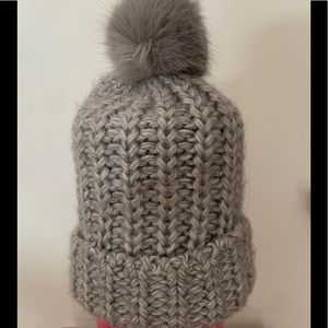 H&M grey double knitted hat with pompom, OS